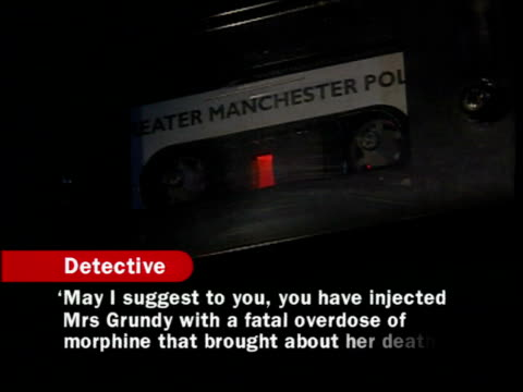 dr harold shipman found guilty cs greater manchester police recording of interrogation of shipman sot with subtitles replying in negative to... - interrogation stock videos & royalty-free footage