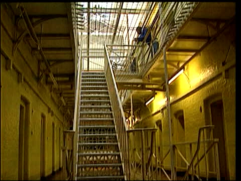 dr harold shipman suicide: investigation into death; itn generics from server int gvs interior of prison, legs of prisoners descending stairs - suicide stock videos & royalty-free footage