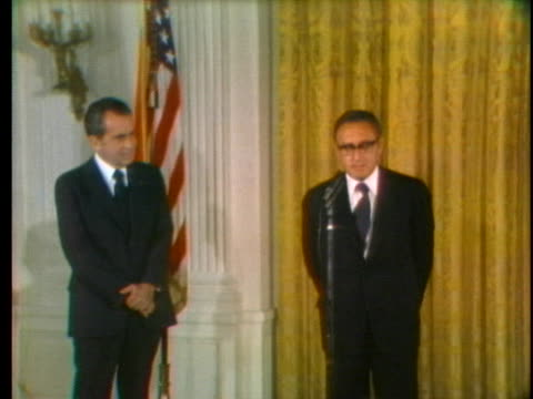 dr henry kissinger makes a speech about the meaning of america just after he's sworn in as secretary of state - united states and (politics or government) stock videos & royalty-free footage