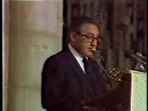 dr henry kissinger reads a eulogy during the memorial service for nelson aldrich rockefeller - eulogy stock videos & royalty-free footage