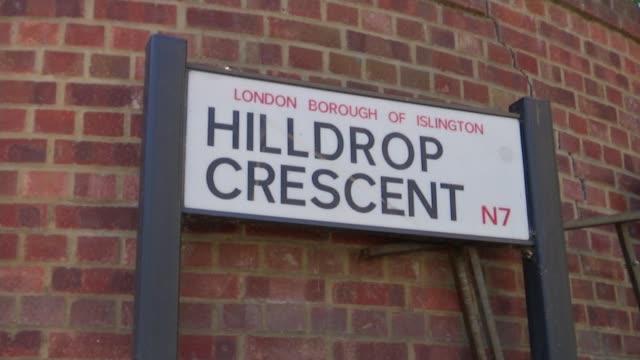 dr jeroen ensink murder: inquest begins; england: london: islington: sign 'hilldrop crescent' general view hilldrop crescent - islington stock videos & royalty-free footage