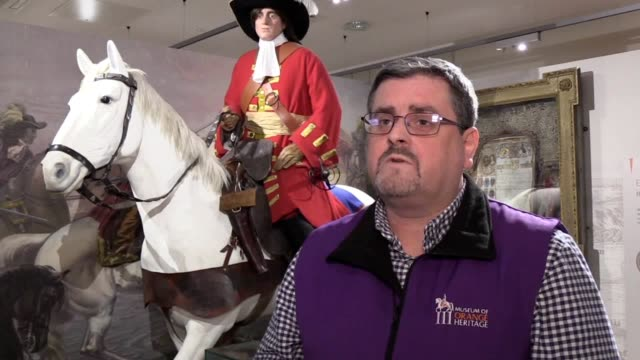 dr jonathan mattison, curator of museum of orange heritage in belfast, explains orange order's plan to revive interest in the 1691 battle of aughrim... - curator stock videos & royalty-free footage
