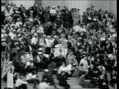 dr martin luther king jr delivering his i have a dream speech at the lincoln memorial as crowd is watching / washington district of columbia united... - martin luther king stock videos and b-roll footage