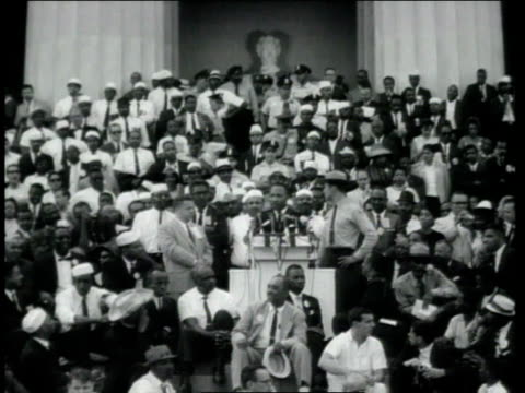 dr. martin luther king jr. delivering his i have a dream speech at the lincoln memorial as crowd is watching / washington, district of columbia,... - 1963 stock videos & royalty-free footage