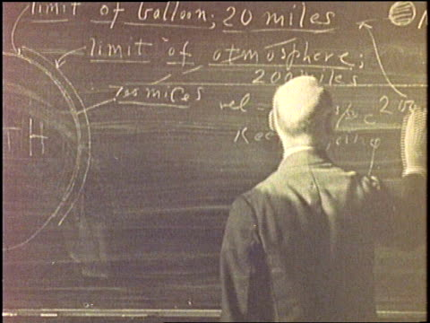 dr. robert goddard sketches a moon-shot diagram on a blackboard in 1930. - formula stock videos & royalty-free footage