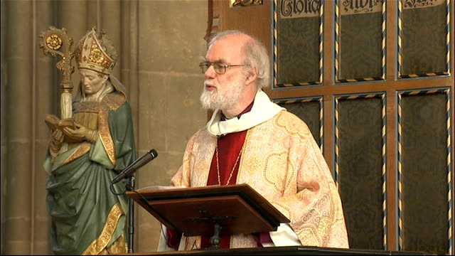 dr rowan williams delivers easter sermon at canterbury cathedral; dr rowan williams sermon sot - talk about the happiness of the nation isn't going... - canterbury cathedral stock videos & royalty-free footage