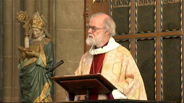 dr rowan williams delivers easter sermon at canterbury cathedral; england: kent: canterbury cathedral: int dr rowan williams sermon sot - one of the... - canterbury cathedral stock videos & royalty-free footage