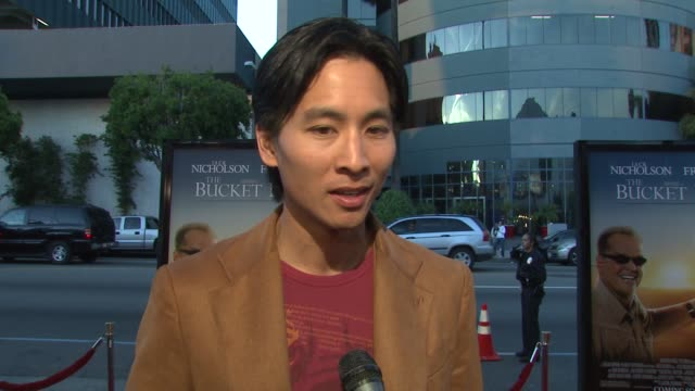 dr roy vongtama on his role, the film, how being a real-life doctor added to the scenes, and message of the film at the 'the bucket list' premiere at... - bucket list stock videos & royalty-free footage