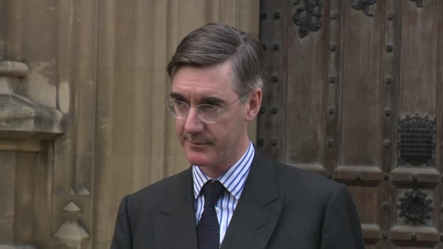 jacob reesmogg press conference on submitting letter of no confidence in theresa may england london westminster houses of parliament ext jacob... - confidence stock videos & royalty-free footage