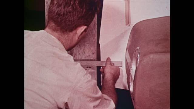 1963 amc draftsmen create engineering drawings from clay model - 1963 stock videos & royalty-free footage