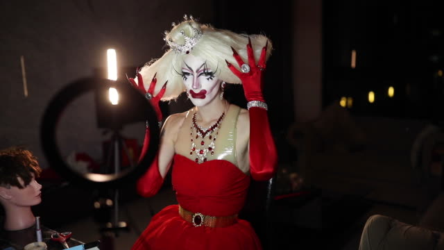 drag artist in his costume - eccentric stock videos & royalty-free footage