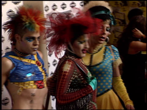 drag costume at the 'party monster' premiere at orpheum theatre in los angeles, california on july 10, 2003. - orpheum theatre stock videos & royalty-free footage
