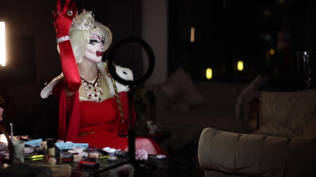 drag queen glamming up - drag queen stock videos and b-roll footage