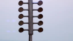 Drag racing street tree light. Stage lamp signal at quarter mile circuit.