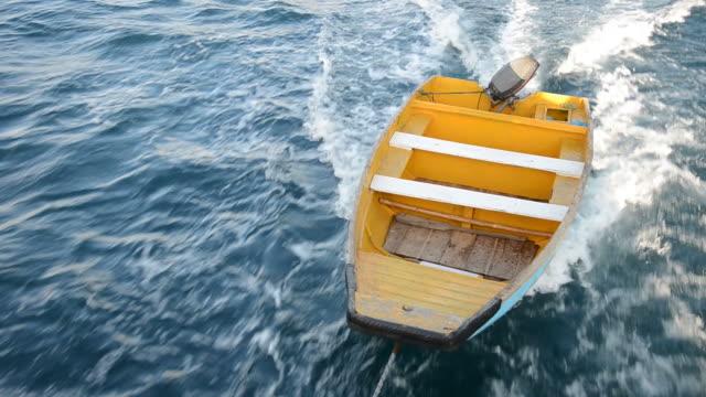 Dragged rowboat