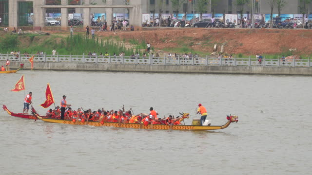 dragon boat race in the temple fair - nautical vessel stock videos & royalty-free footage
