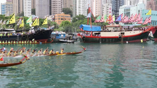 dragon boat races at aberdeen harbour, hong kong island, hong kong - aberdeen hong kong stock videos & royalty-free footage
