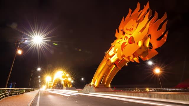 dragon bridge danang vietnam - vietnam stock videos & royalty-free footage
