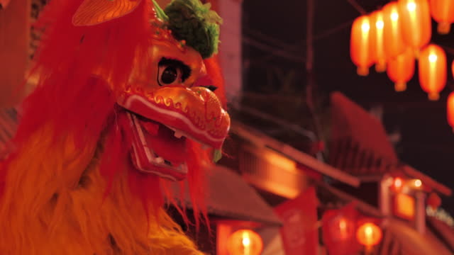 dragon dance show for chinese new year lanterns in china town.celebrate chinese new year.south east & east asia: celebrating chinese new year - taiwan stock videos & royalty-free footage