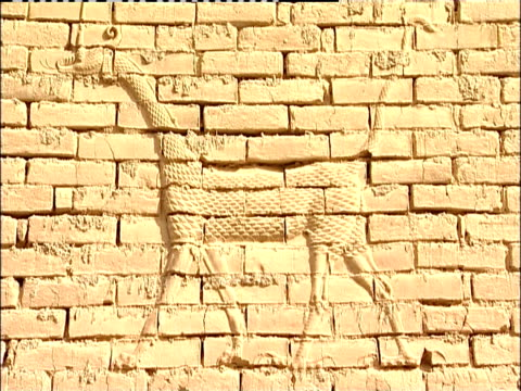 a dragon inlay decorates a wall in the ancient city of babylon. - babylon stock videos and b-roll footage