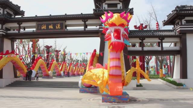 ws pan dragon lantern celebrating holiday in park/xian,shaanxi,china - rappresentazione di animale video stock e b–roll