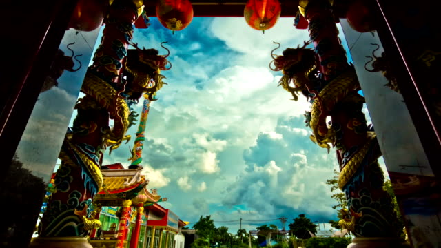 stockvideo's en b-roll-footage met dragon of chinese shrine temple,dolly shot - schilderijen