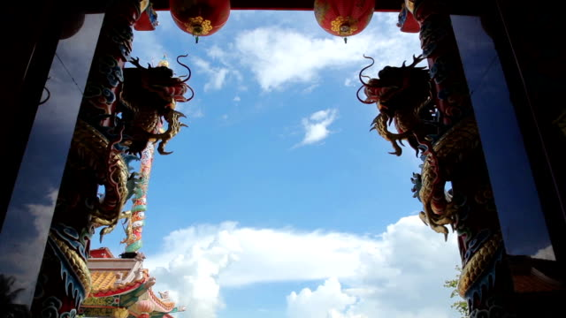 Dragon of Chinese shrine temple,Dolly shot
