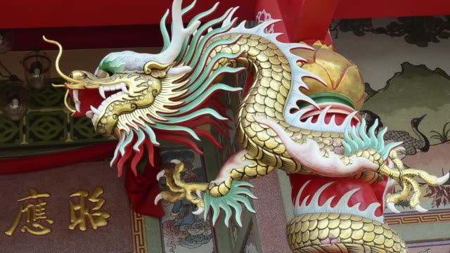ms dragon statue on chinese temple / mae nam, ko samui, thailand  - animal representation stock videos & royalty-free footage