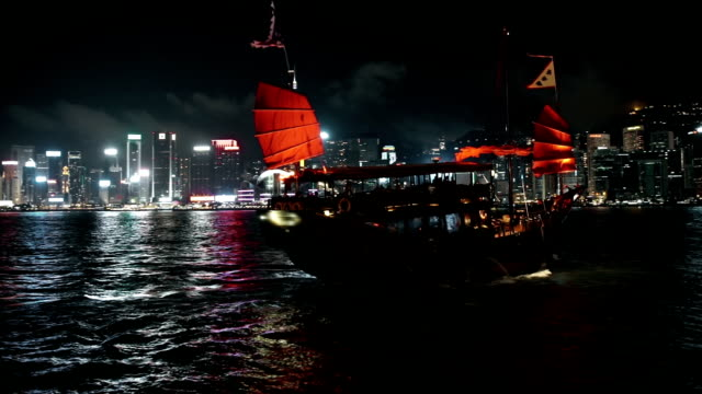 Dragonboat shipping in front of Hongkong skyline