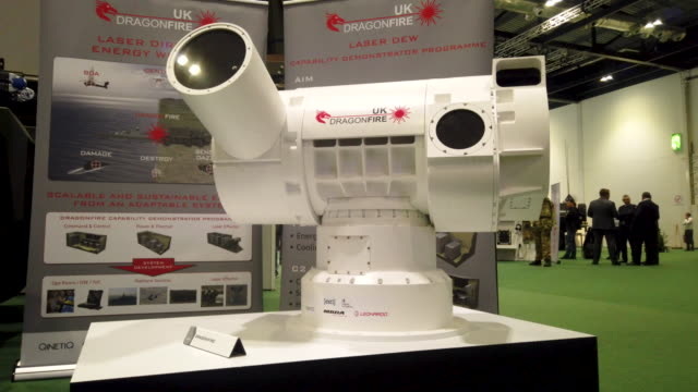 dragonfire laser directed energy weapon system is seen on day one of the dsei arms fair at excel on september 10 2019 in london england held every... - camouflage stock videos & royalty-free footage