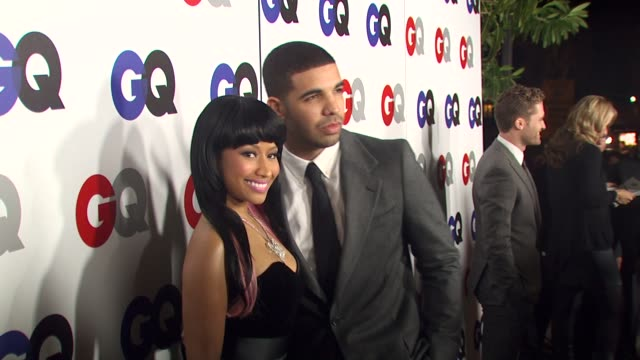 drake with nicki minaj at the gq magazine's 2009 'men of the year' party at los angeles ca - 2009 bildbanksvideor och videomaterial från bakom kulisserna