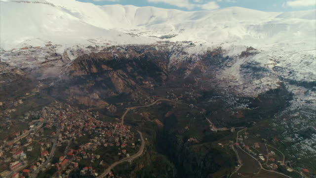 Dramatic aerial shots of mountains in the Lebanese interior