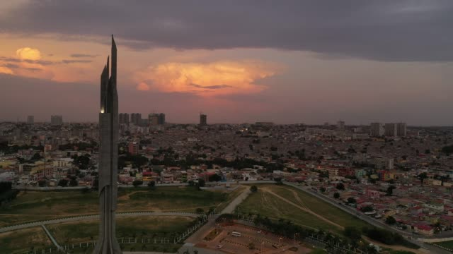 dramatic aerials views from luanda by sunset - housing difficulties stock videos & royalty-free footage
