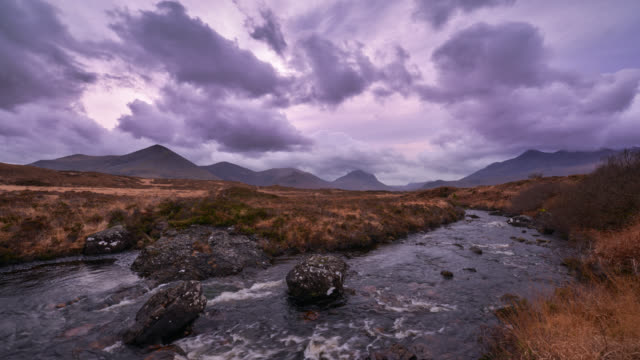 dramatic clouds over glencoe three sisters mountains - scotland stock videos & royalty-free footage