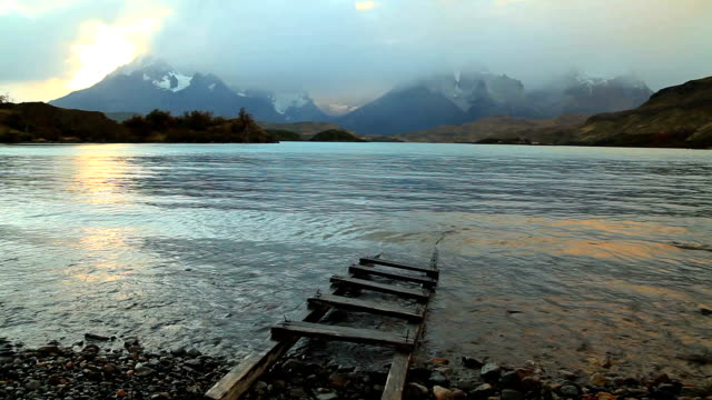 dramatic dawn in torres del paine, chile. - patagonia chile stock videos and b-roll footage