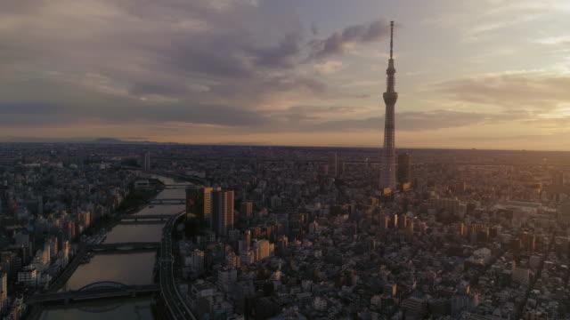 東京の街並みの劇的な夜明け - スカイツリー点の映像素材/bロール