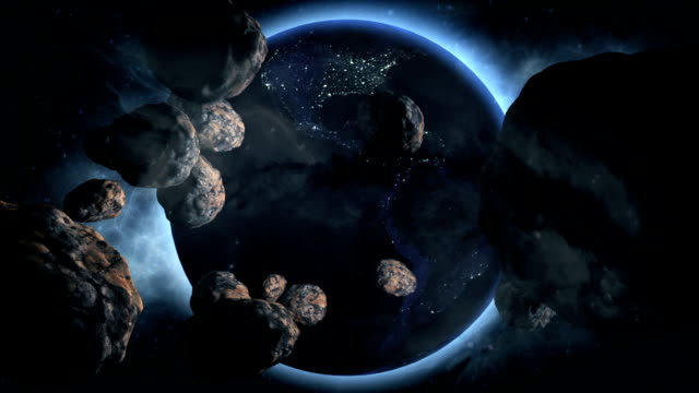 Dramatic Earth with Asteroids