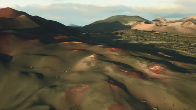 dramatic landscape seen from an aerial perspective, lanzarote, spain - natural pattern stock videos & royalty-free footage