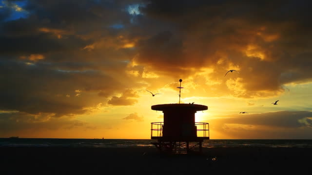 dramatic miami beach sunrise - south beach stock videos & royalty-free footage