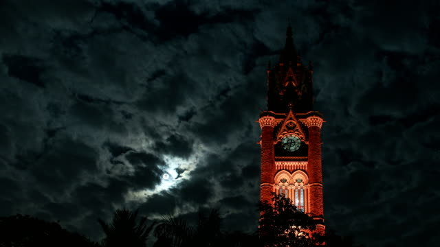 dramatic moonrise and victorian architecture, mumbai - gothic style stock videos & royalty-free footage