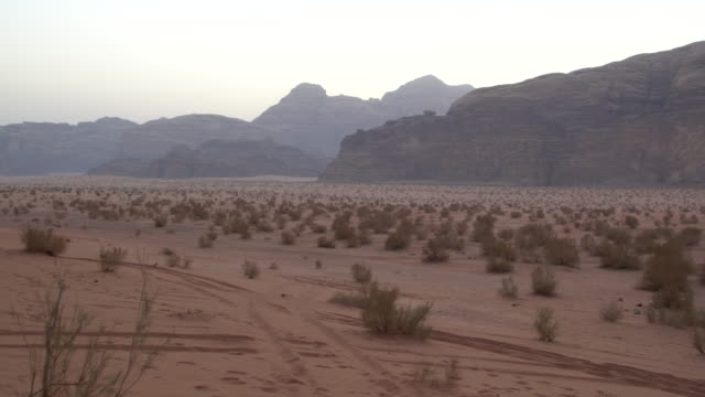 Dramatic sandstone mountains in Wadi Rum Desert, Jordan