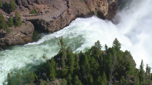 ms aerial td ds dramatic scenery of yellowstone waterfall / wyoming, united states - lower yellowstone falls stock videos & royalty-free footage