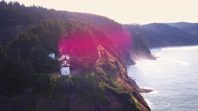 Dramatic Shot of Cape Meares and Sea Stacks on Oregon Coast - Drone Shot