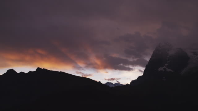 WS TU Dramatic sky at sunset above Alps / Murren, Switzerland