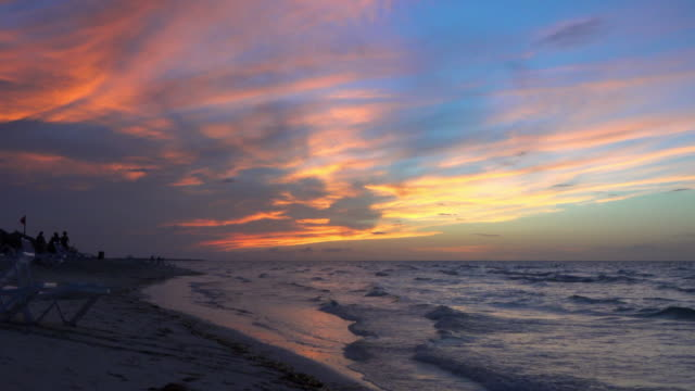 dramatic sky during sunset in a tropical beach, varadero, cuba - varadero stock videos and b-roll footage