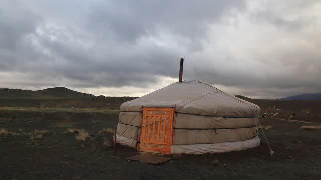Dramatic sky over the yurts, Mongolia