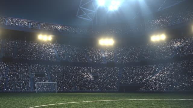 Dramatische voetbalstadion vol met toeschouwers