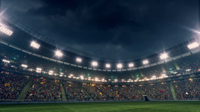 dramatic stadium full of spectators - calcio sport video stock e b–roll