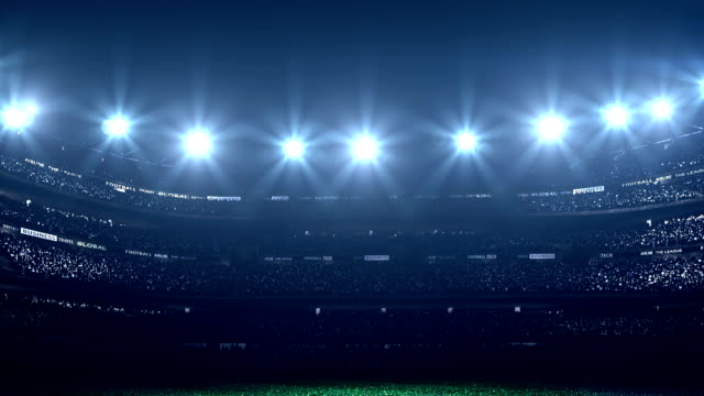 stockvideo's en b-roll-footage met dramatic stadium with no players - schemering