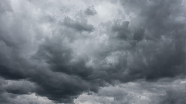 dramatic storm clouds - a heavy thunderstorm is coming - panorama di nuvole video stock e b–roll